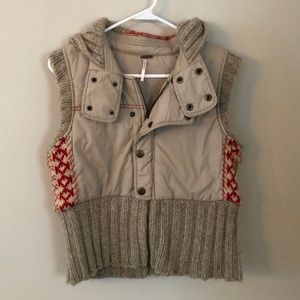 Free People Tan Vest with red Aztek Print Size: M